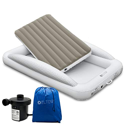 Product Image 1: Eltow Inflatable Toddler Air Mattress Bed With Safety Bumper - Portable, Modern Travel Bed, Cot for Toddlers - Perfect For Travel, Camping - Removable Mattress, High Speed Pump and Travel Bag Included