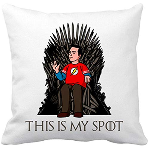 Cojín con relleno Sheldon Big Bang Theory en trono Juego de Tronos This Is My Spot - Blanco, 35 x 35 cm