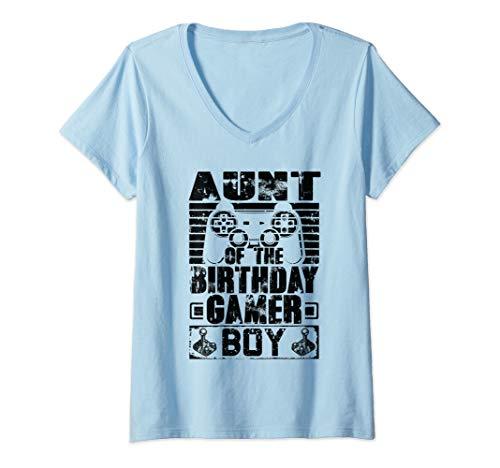 Womens Aunt of the Birthday Boy Matching Video Game Birthday Gift V-Neck T-Shirt