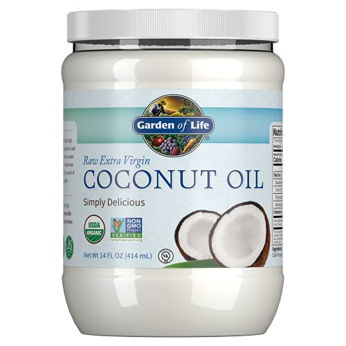 Garden of Life Organic Extra Virgin Coconut Oil - Unrefined Cold Pressed Plant Based Oil for Hair, Skin & Cooking, 14 Oz
