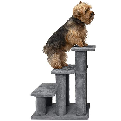 Furhaven Pet Stairs - Steady Paws Easy Multi-Step Pet Stairs Assist Ramp for Dogs & Cats, Gray, 3-Step