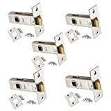 5 x Sets of Tubular Door Latch - High Quality Chrome Finish - for Use with Lever Door Handles - 63mm or 75mm - Handlestore (63mm (2.5'))