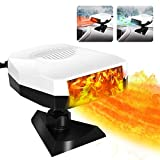 Car Heater, Portable Car Heater & Cooling Fan 12V 150W Windshield Defogger Defroster, Fast Heating, 360-degree Rotation (White)