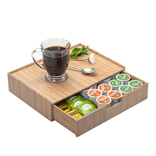 Bamboo Drawer Organizer to hold K-Cups, Coffee, Tea, Espresso...