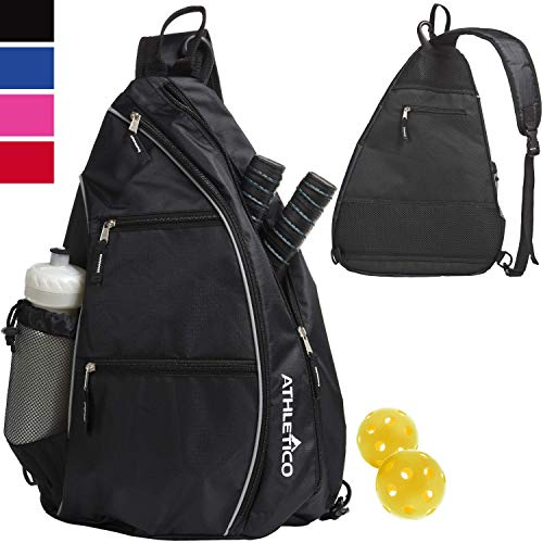 Athletico Sling Bag - Crossbody Backpack for Pickleball, Tennis, Racketball, and Travel for Men and Women (Black)