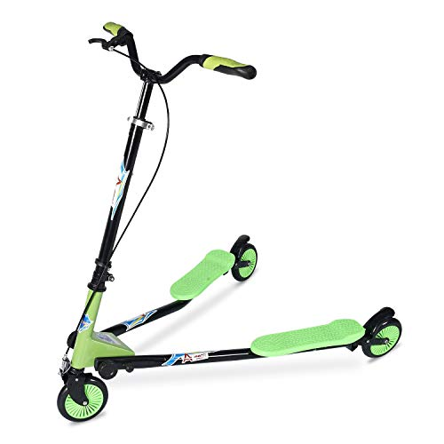 AODI Swing Scooter Adjustable 3 Wheels Foldable Wiggle Scooter Self Drifting for Kids/Adult Age 7 Years Old and Up