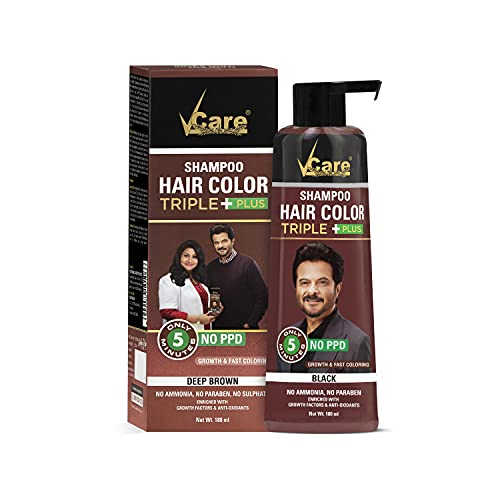 VCare Shampoo Hair Color, Brown, 180 ml