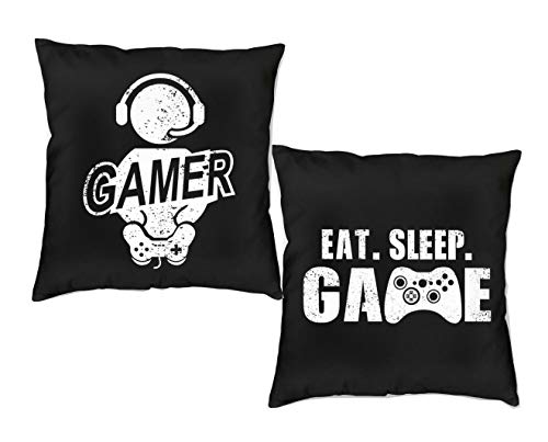 DZGlobal Gamer Pillow Cover Eat Sleep Game Room Accessories and Decor 18 x 18 Video Game Pillow Case Game...