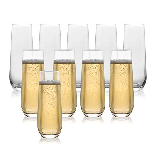Set of 10 Classic Flute Champagne Stemless Glasses (10 Ounce) - Toasting Sparkling Wine / Wedding Flutes
