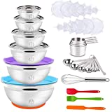 Mixing Bowls Set, 35PCS Kitchen Utensils with Stainless Steel Nesting Bowls, Measuring Cups and Spoons, 12 Reusable Silicone Stretch Lids Non-slip Mat Egg Whisk Baking Set for Prepping Cooking Serving