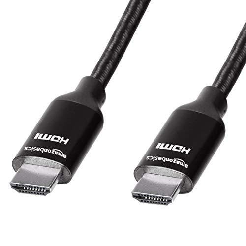 AmazonBasics Geflochtenes Hochgeschwindigkeits-HDMI-Kabel, Schwarz, 0,9 m