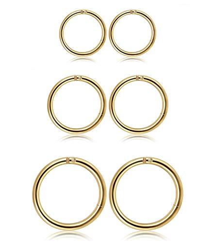 Milacolato Joyería 3 Pares Acero Inoxidable Pendientes Piercing de Aro para Hombres Mujeres Piercings Oreja Labios Septum Cuerpo Piercing, 6-10mm