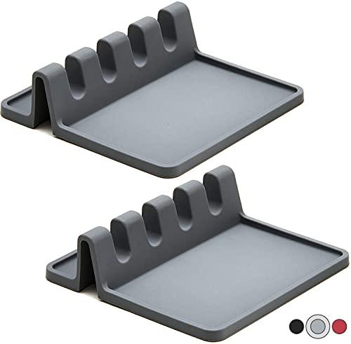 2er Pack Kochlöffelablage aus Silikon | BPA freie Küchenhelfer & Küchenutensilien Ablage |...