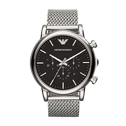Emporio Armani Herren Chronograph Quarz Uhr mit Edelstahl Armband AR1808