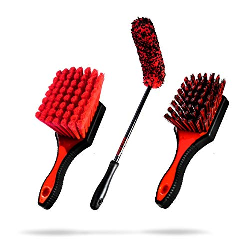 Adam's Wheel Brush Kit - Every Brush You Need to Detail Your Cars Wheels, Tires, Barrels, and More - Specially Designed Brushes for Every Part of Your Wheels & Tires (Wheel Brush Kit)