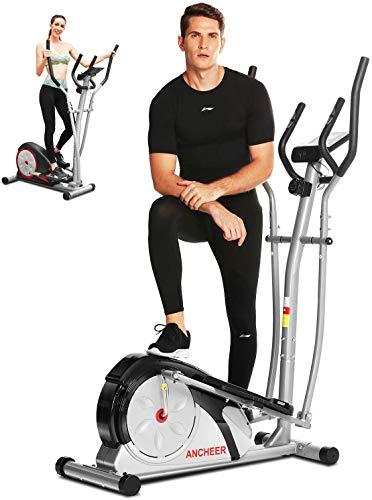 ANCHEER Vélo de Fitness Machine elliptique avec 8 Niveaux de résistance/Porte Tablette/Écran LCD/Poignée de Test de fréquence Cardiaque/Silencieuse Charge maximale:265Ibs (Gris)