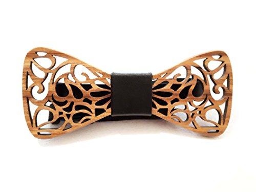 Effetto garantito Papillon in legno scolpito fatto a mano | Elegante, Moda e Tendenza | Diversi modelli e colori disponibili | Dimensione regolabile (Marrone 84)