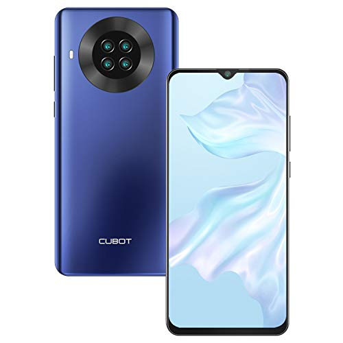 CUBOT Note 20 smartphone without contract, 6.5 inch HD+ display, 4200 mAh battery, Android 10.0, 3 GB RAM + 64 GB ROM, 4G mobile phone, AI cameras, dual SIM, NFC, face ID, German version, blue
