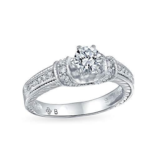 Bling Jewelry Deco 1Ct Redondo Brillante Solitario U Conjunto Allanar 6 Prong AAA Banda CZ Anillo De Compromiso Juego para Mujer 925