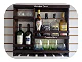 Genuine Decor Bar Cabinet for Space Wine Glass Holder Extra Large Hold 8 Bottles and 12 Wine Glass