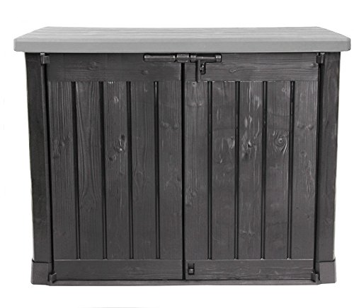 Ondis24 Keter Max Gartenbox Möbelbox Mülltonnenbox Gerätebox Schuppen für 2 x 240 Liter Mülltonnen (schwarz - grau) für den Außenbereich mit Bodenplatte