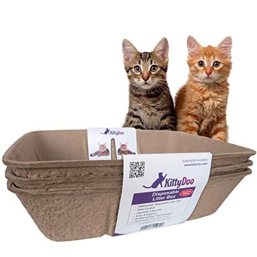 KittyDoo Arenero para Gatos Inodoro, Bandeja desechable, respetuosa con el Medio Ambiente Eco-Friendly - Aseo Gatos (3 Unidades)
