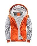 Yesgirl Homme Hiver Chaud Sweats Épaisse Veste à Capuche Doublée Polaire Manteaux Doux Hoodie Pullover Casual Manches Longues Blousons Sweat-Shirts B Orange Large