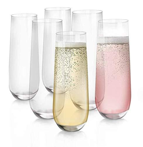 [6-Pack, 280 ml/9.5 oz] DESIGN•MASTER- Bicchieri da Champagne Senza Stelo, Bicchieri Senza Piombo, Bicchieri da Vino per Tutti gli Usi.