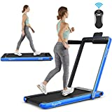 Goplus 2 in 1 Folding Treadmill, 2.25HP Under Desk Electric Pad Treadmill, Installation-Free, with Dual Display, Bluetooth Speaker, Remote Control, Walking Jogging Machine for Home/Office Use (Blue)
