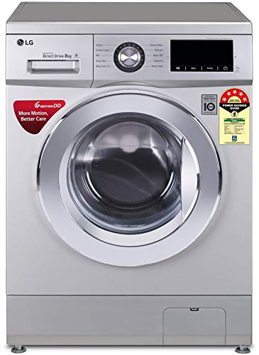 LG 8.0 Kg 5 Star Inverter Fully-Automatic Front Loading Washing Machine (FHM1208ZDL, Luxury Silver,...