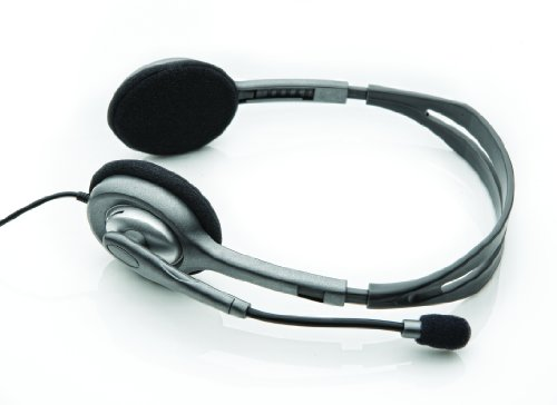 Logitech H110 Cuffie Cablate, Stereo con Microfono per Computer, Cancellazione Rumore, Doppio Jack Audio da 3.5 mm, PC/Mac/Laptop, Grigio