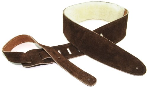 "Perri's Leathers Ltd Guitar Strap, 2.5"" Wide Soft Suede, Super Soft Sheepskin Fur Pad, Adjustable Length, (DL325S-201) Brown, Made in Canada, Standard…"
