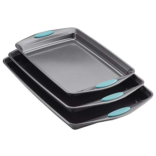 Rachael Ray 47576 Bakeware Nonstick Cookie Pan Set, 3-Piece, Gray with Agave Blue Grips