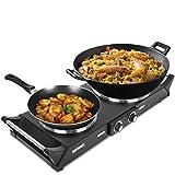 Duronic HP2 BK Plaque de cuisson chauffante électrique avec double foyer en fonte de 20 et 15 cm| 2500W |...