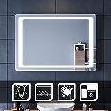 SIRHONA Miroir à LED 100x70cm Miroir de Salle de Bains avec éclairage à...