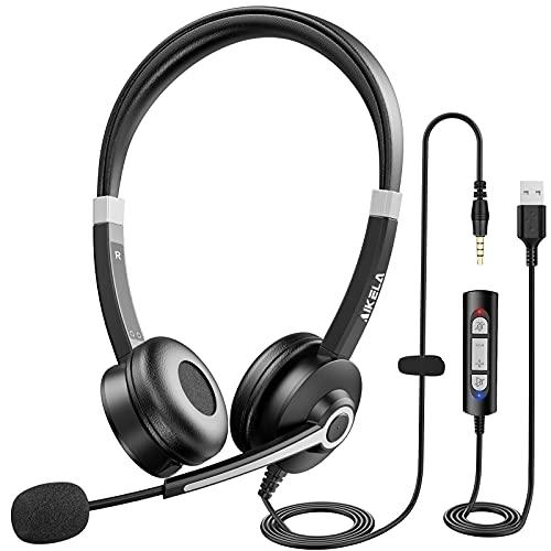 Cuffie con Microfono per PC, Plug & Play, Cuffie PC Stereo per Chiamate Super Chiare, Cuffie USB/3.5mm Jack per PC con Microfono a Cancellazione di Rumore e Controllo del Volume, per Skype, Webinar