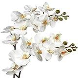 Lot de 2 tiges d'orchidée artificielles Phalaenopsis en soie, 9 têtes de...
