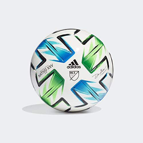 adidas MLS Mini Ball, White/Samba Blue/Solar Green/Silver Metallic, 1