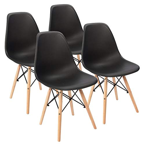 Furmax Pre Assembled Style Mid Century Modern DSW Shell Lounge Plastic Kitchen, Dining, Bedroom, Living Room Side Chairs Set of 4, Black