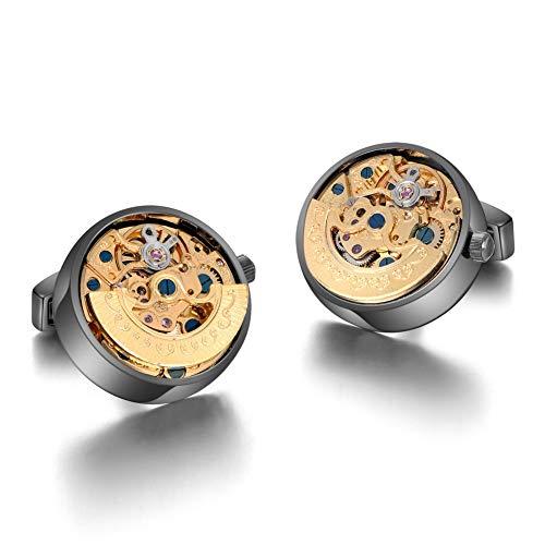 Merit Ocean Mechanical Movement Cufflinks Steampunk Watch Cuff Links Business Wedding Gifts (Jewellery)