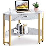 ODK CornerDesk Triangle Computer Desk Corner Vanity with Large Drawer & Storage Shelves, Corner Writing Desk for Workstation, Marble