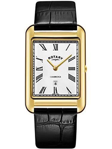 Rotary Mens Cambridge Date Gold quadratische Uhr schwarzes Lederarmband GS05283/01