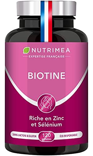 BIOTINE | Sans Excipient | Accélère la Pousse des Cheveux & Ongles | Avec Vitamine B8, Pépins de Courge, Zinc et Sélénium | 120 Gélules Vegan | Fabrication Française | Nutrimea
