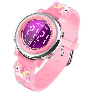 Kids Unicorn Watch Digital Waterproof – Upgrade 3D Cute Cartoon 7 Color Lights Sports Outdoor LED Electrical Toddler Watches with Alarm Stopwatch for 3-10 Year Girls Little Child – Best Gift