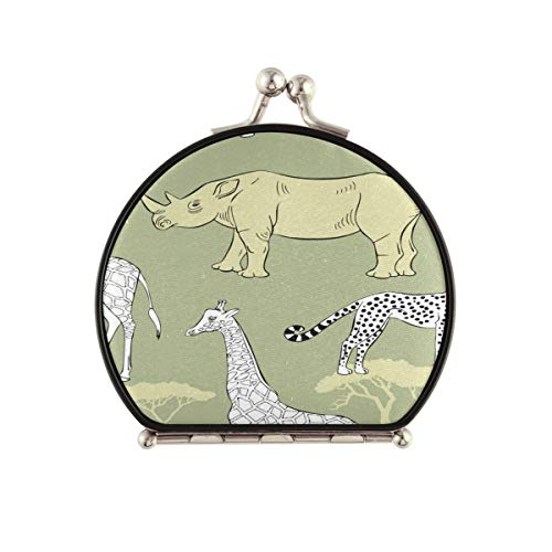 Magnifying Compact Cosmetic Mirror Pattern Savanna Animals Pocket Makeup Mirror, Handheld Travel Makeup Mirror With Magnification And 1x True View Mirror For Travel Or Your Purse