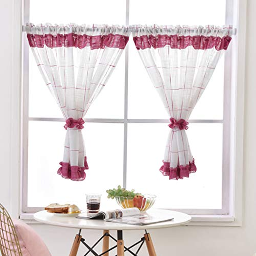 Yujiao Mao - 1 visillo de hilo de lino, cortina para ventana