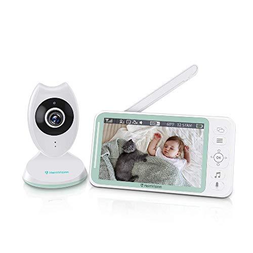 Baby Monitor con LCD HD Schermo da 4.3 Pollici, Videocamera con Sensore di Temperatura e VOX, Telecamera Neonato con Audio Bidirezionale, Visione Notturna, 8 Ninnananne