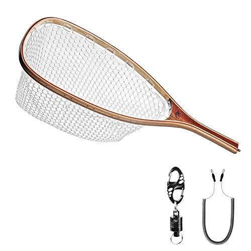 SF - Épuisette avec mailles en caoutchouc souple pour pêche à la mouche, pêche à la truite, pêcher-relâcher (pêche no-kill), Clear A...
