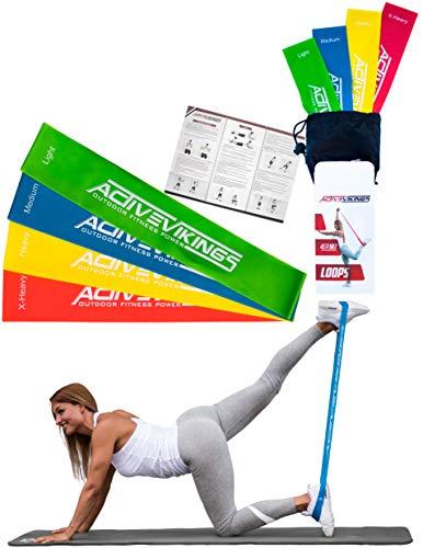 ActiveVikings Set di 4 Fasce Elastiche di Resistenza Ideali per lAllenamento Muscolare, Fisioterapia...