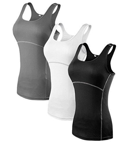 YR.Lover Damen 3er Pack Dry Fit Kompression Running Yoga Tank Top T-Shirt,  M, 3er Pack;schwarz.grau.weiß